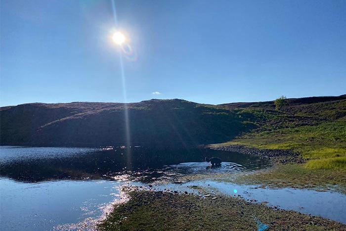 The sun over Lochan Fada