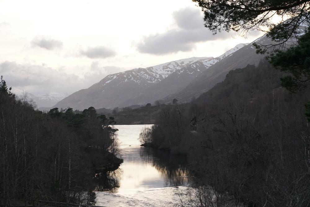 Winter scene at Glen Affric loch
