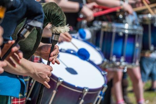 Traditional Scottish band at Highland Games